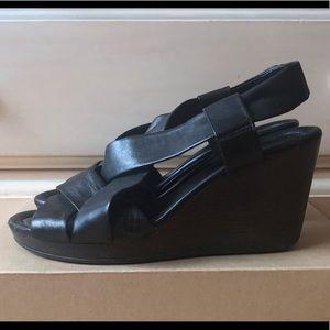 Cole Haan Air Dinah Leather Sandal Wedge Black 9.5